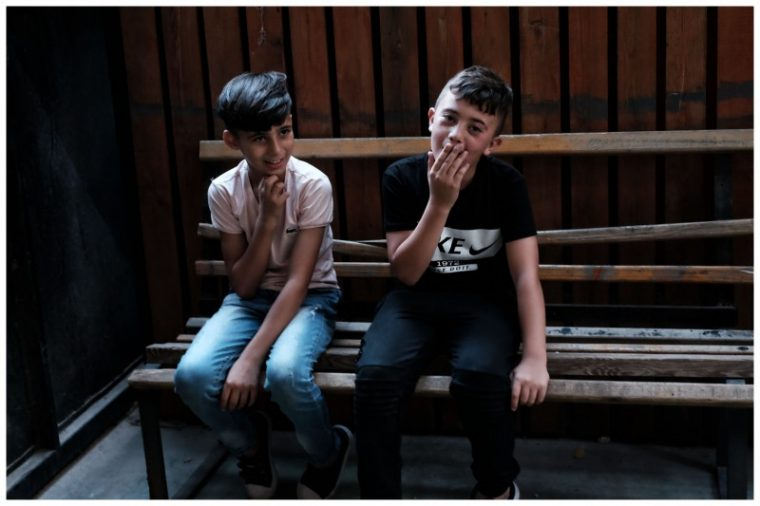 Children at the Jenin refugee camp attending the Freedom Theater performance.